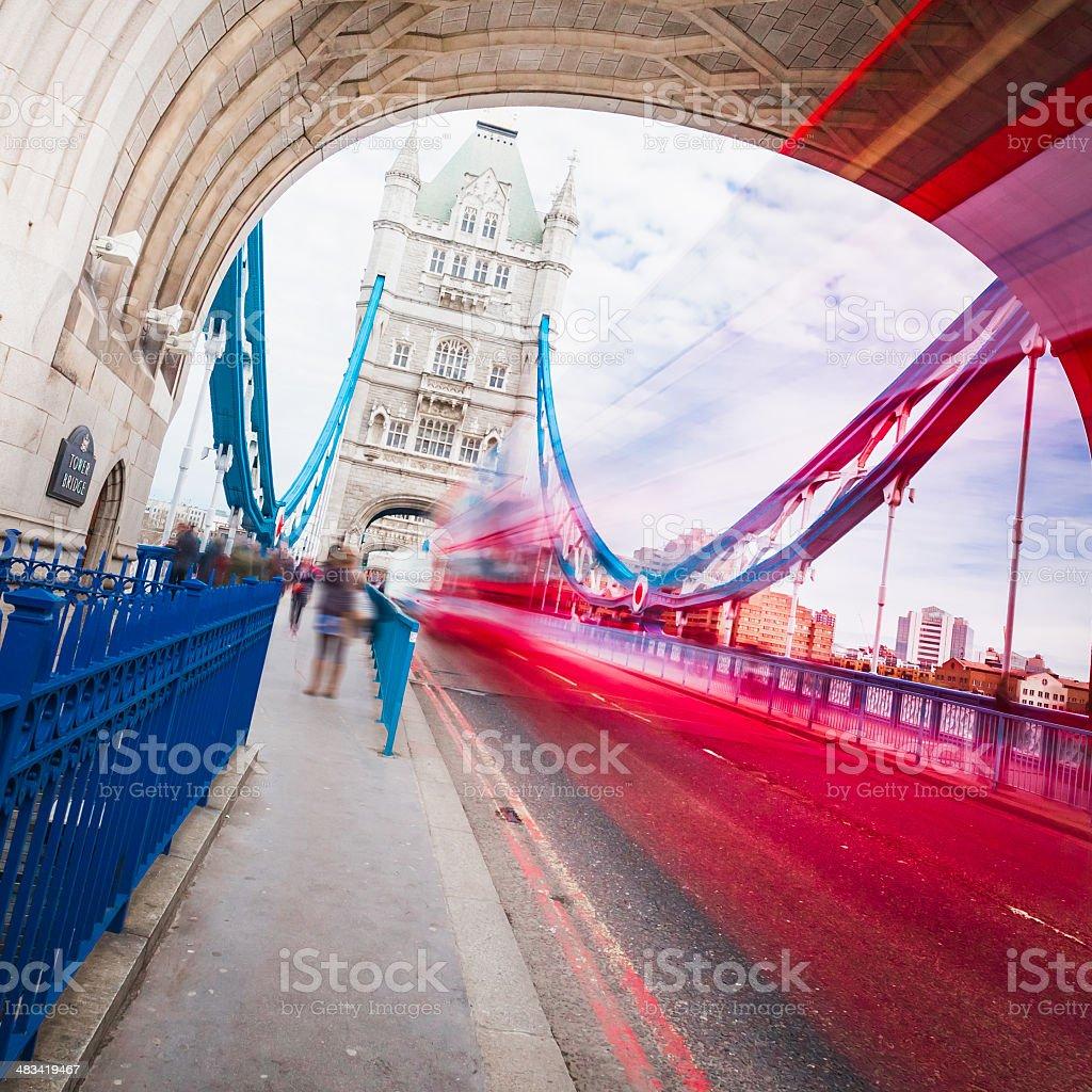 Bus on Tower Bridge royalty-free stock photo
