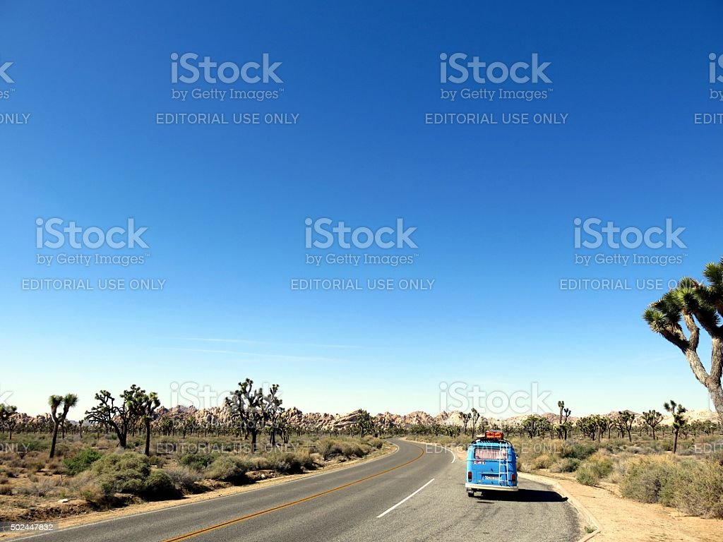 VW Bus parked in Joshua Tree National Park stock photo