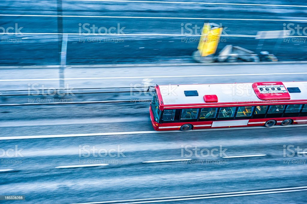 Bus Riding In Stockholm Road royalty-free stock photo