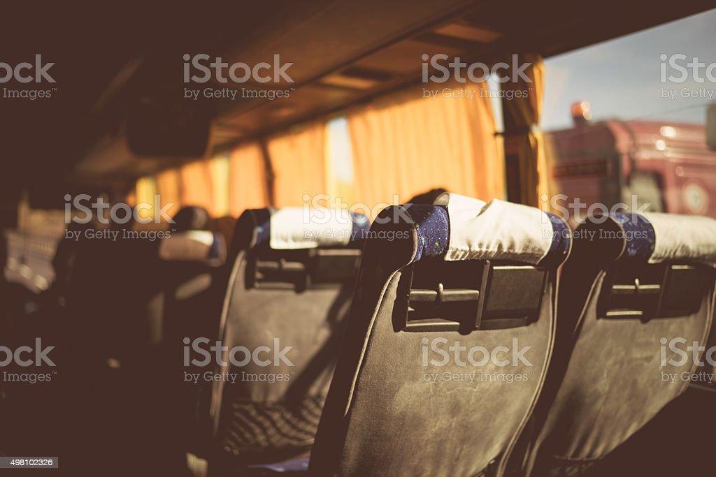 Bus seats Florence vintage stock photo
