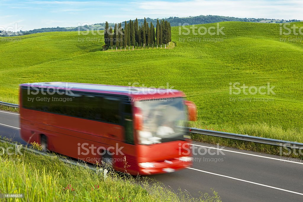 Bus Sightseeing Tour in Beautiful Landscape, Tuscany, Italy stock photo
