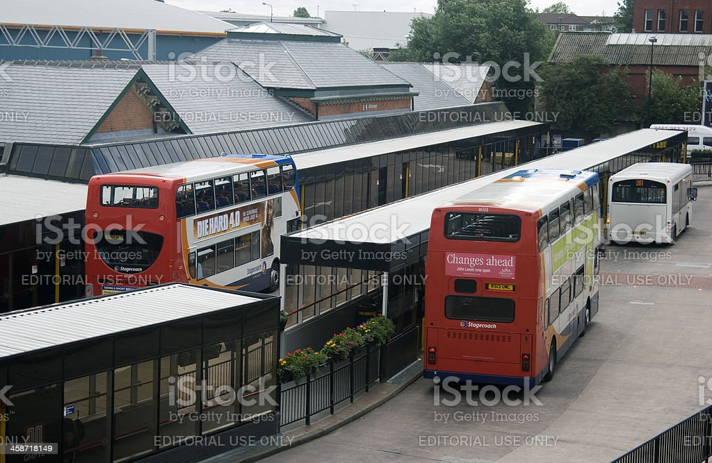 Bus station and railway interchange stock photo