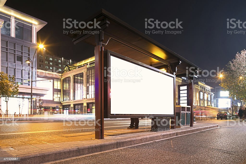 bus station at night stock photo