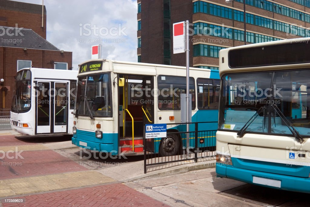 A bus station for large city buses stock photo