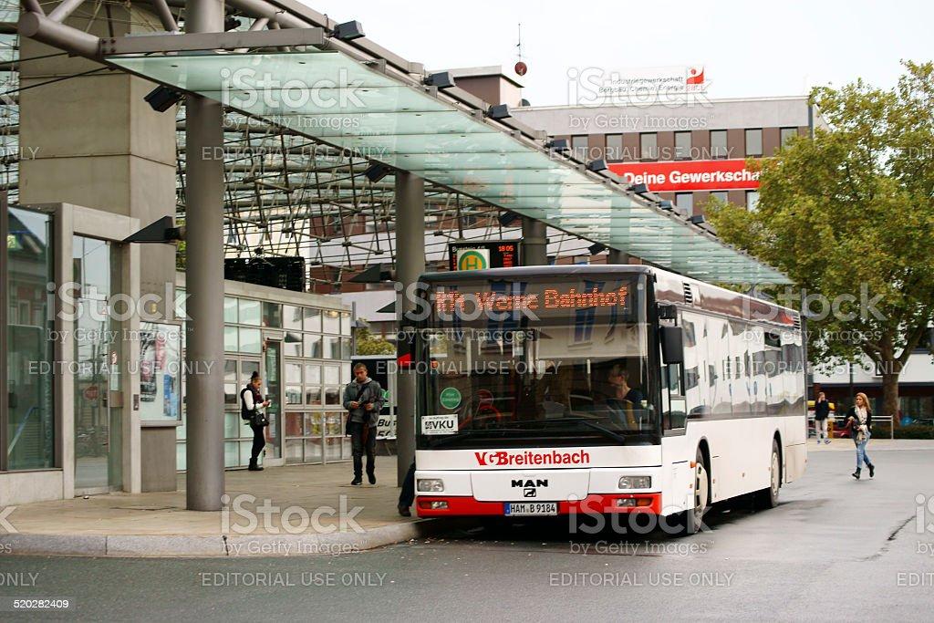 Bus station Hamm stock photo