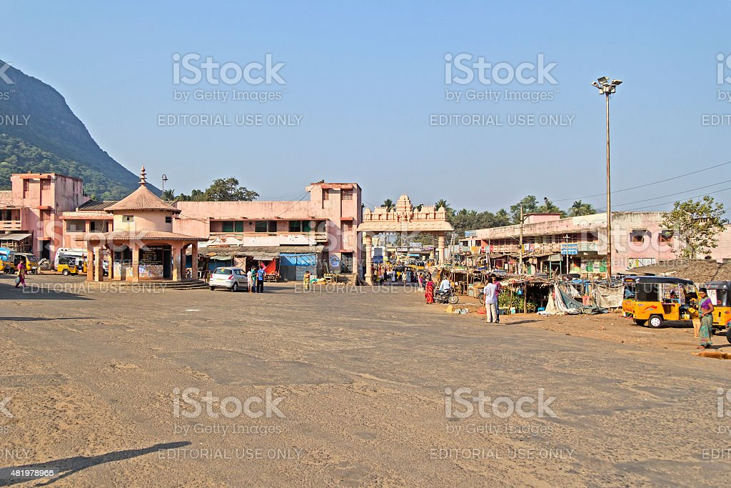 Bus station in Simhachalam stock photo