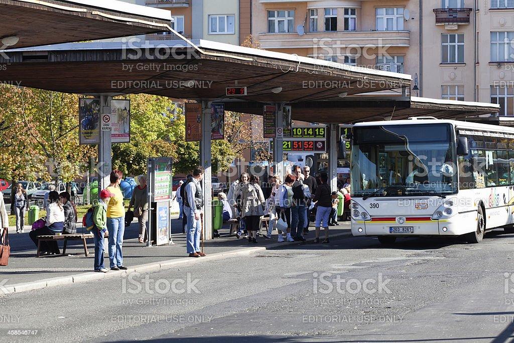 Bus station stock photo