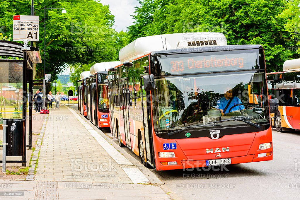 Bus station stock photo