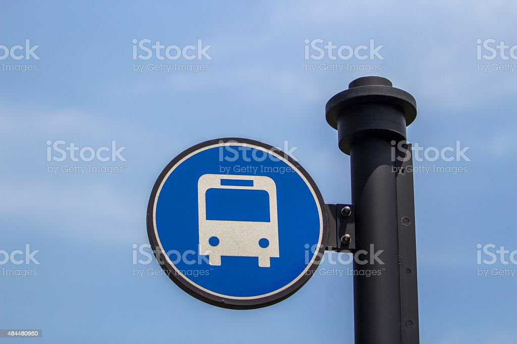 bus station sign stock photo