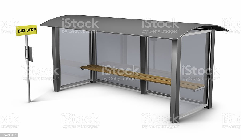 Bus stop and shelter royalty-free stock photo
