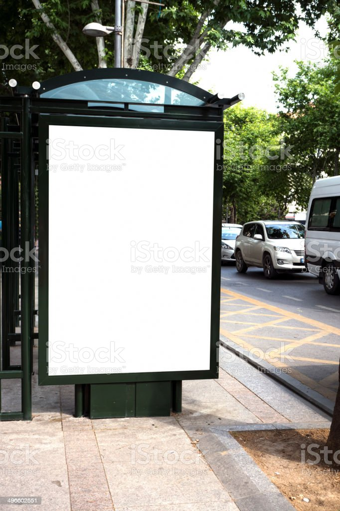 Bus stop billboard stock photo