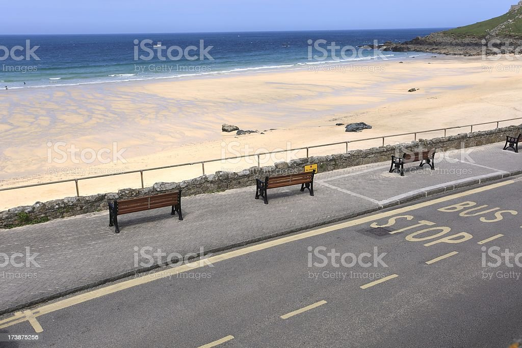 Bus stop by the sea. royalty-free stock photo
