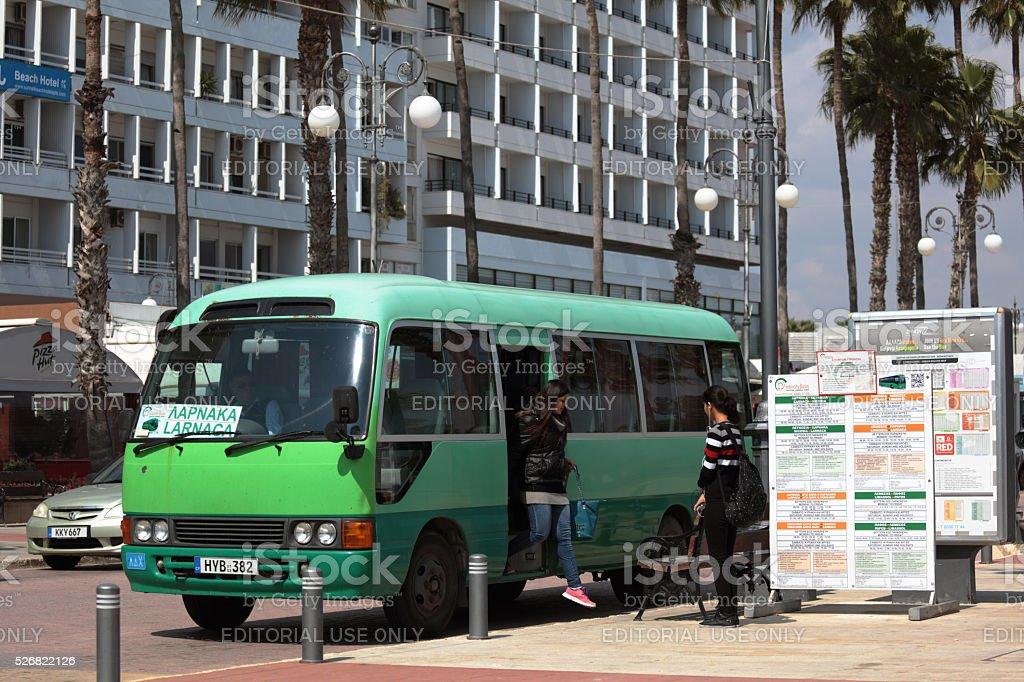 Bus stop in Larnaca, Cyprus stock photo