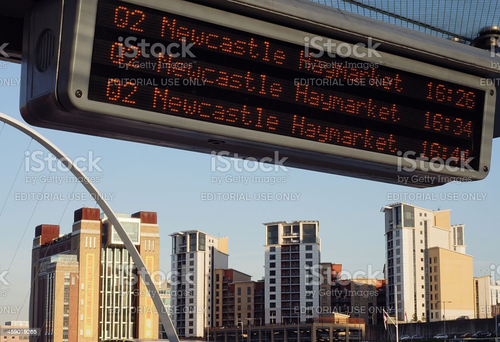 Bus stop in Newcastle with view of Gateshead royalty-free stock photo