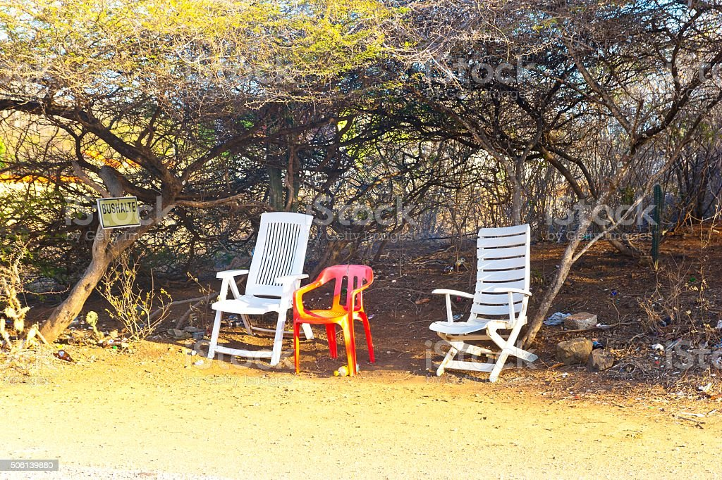 Bus stop in the bush on the island of Curaçao stock photo