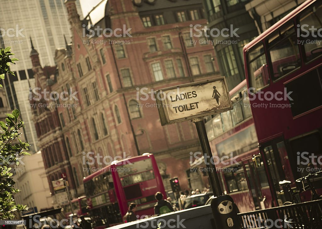 Bus stop near Piccadilly Circus in Llondon royalty-free stock photo