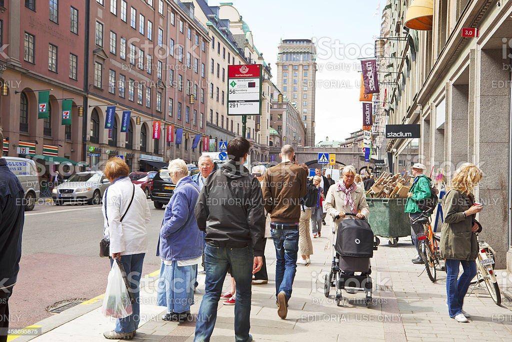 Bus stop on Kungsgatan, Stockholm, Sweden. stock photo