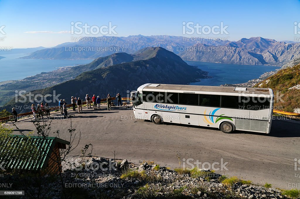 Bus stop on switchback at the hill side stock photo