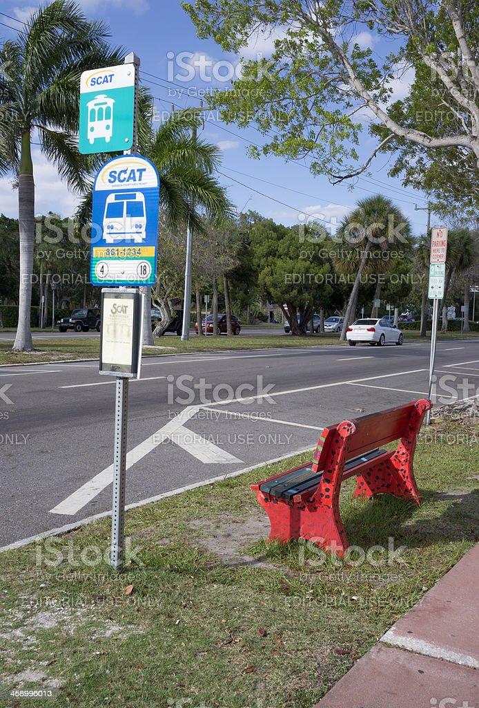SCAT bus stop (Sarasota County Area Transit) stock photo