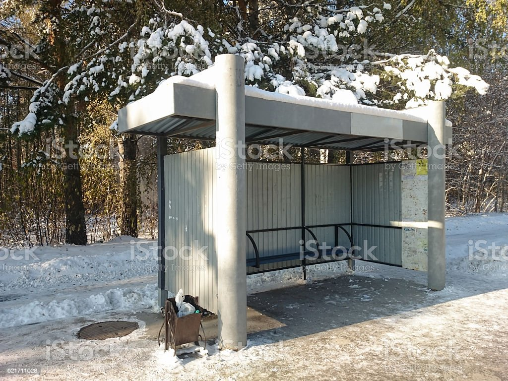 Bus stop stock photo