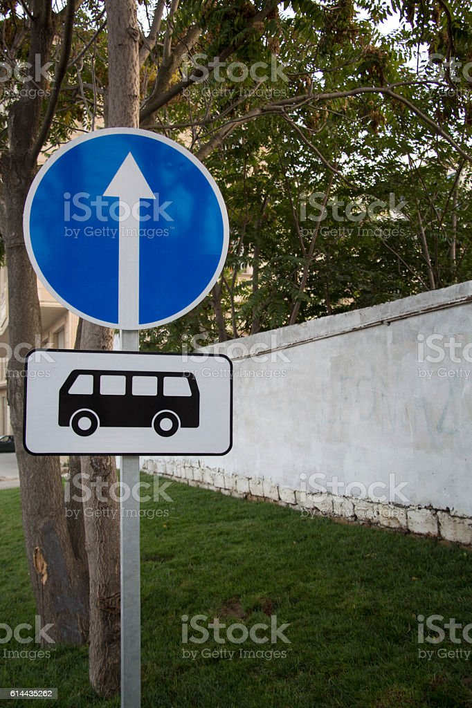 Bus stop road sign stock photo