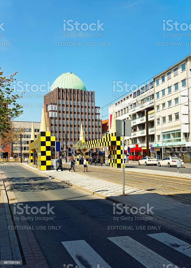 Bus stop Steintor of Hanover in Germany stock photo