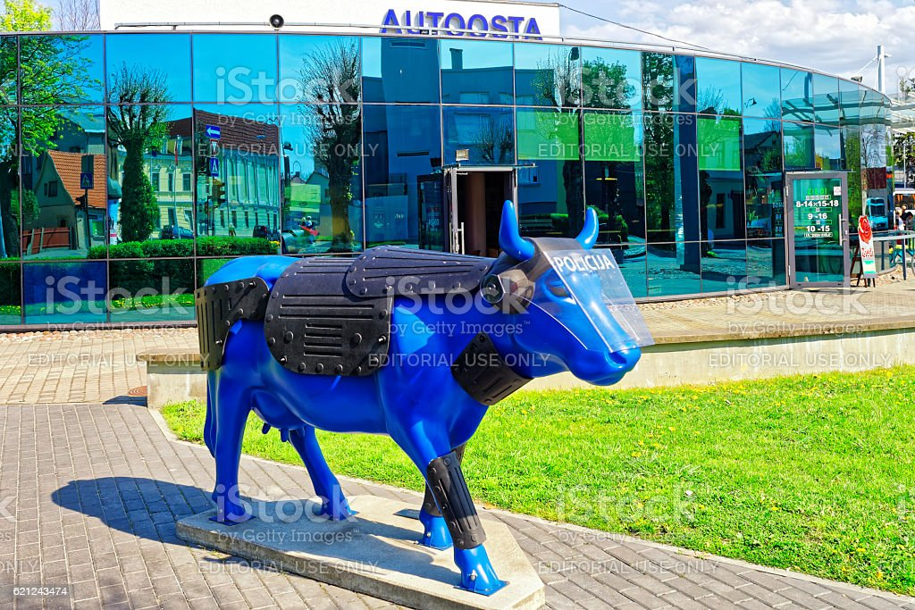 Bus terminal and Blue Cow in Ventspils in Latvia stock photo