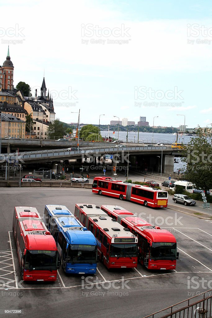Bus terminal in central Stockholm, Sweden royalty-free stock photo