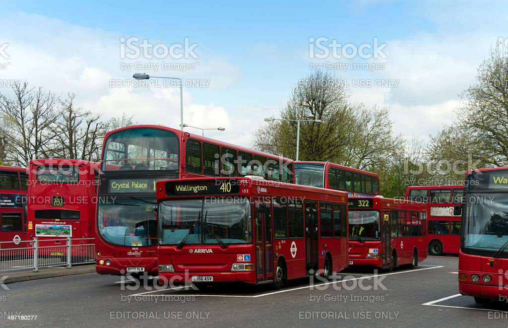 Bus terminus in South London royalty-free stock photo