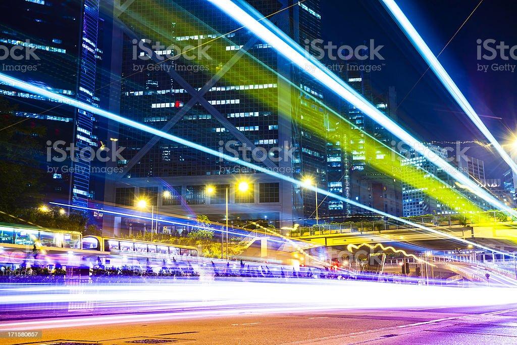 bus through street with blur light royalty-free stock photo