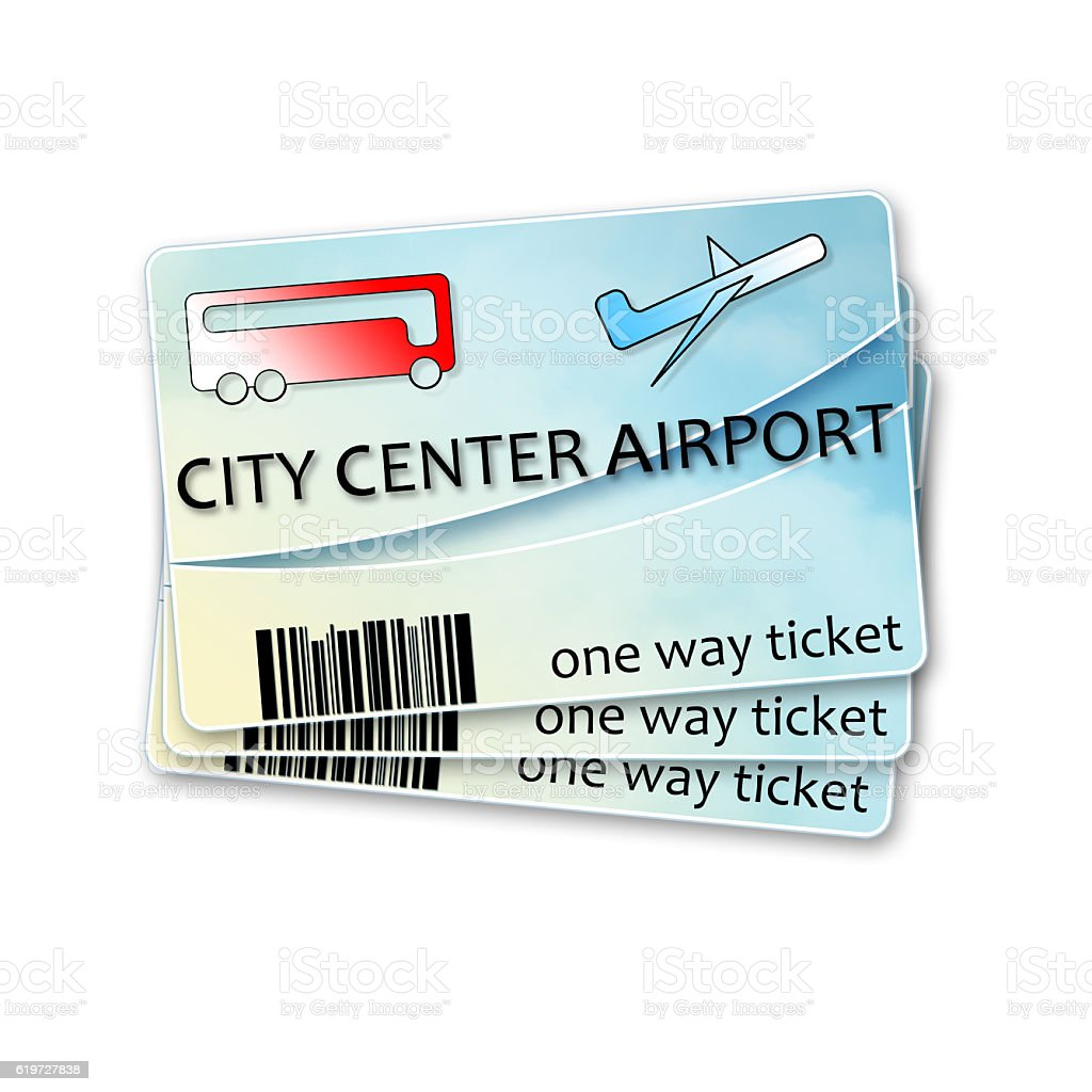 Bus tickets from city center to airport and return stock photo