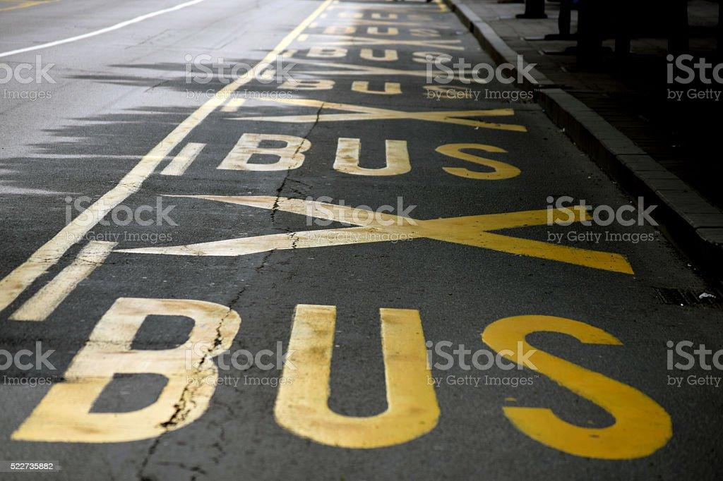 Bus traffic lane stock photo