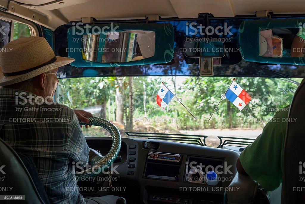 Bus travel in Bocas del Toro, Panama stock photo