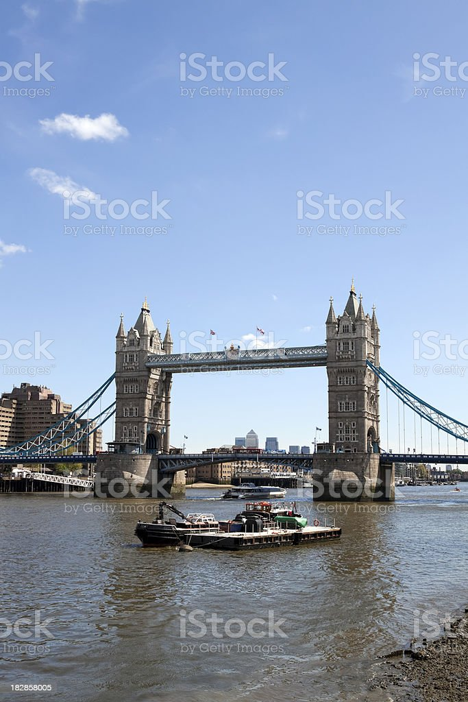 Bus travelling north over Tower Bridge, London royalty-free stock photo
