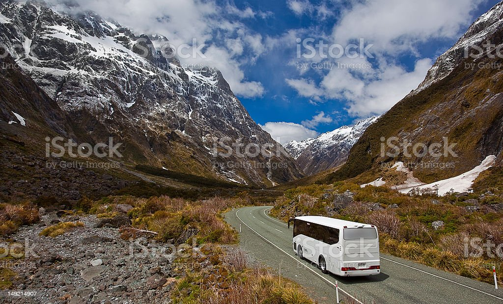 Bus trip in New Zealand stock photo