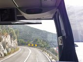 Bus Windshield View, Adriatic Sea, Tight Bend Curved Road, Cliff