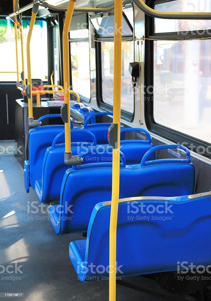Bus with blue seats royalty-free stock photo