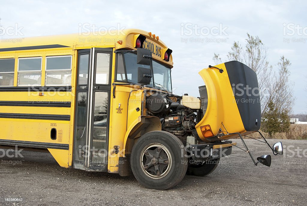 Bus with Engine Trouble stock photo