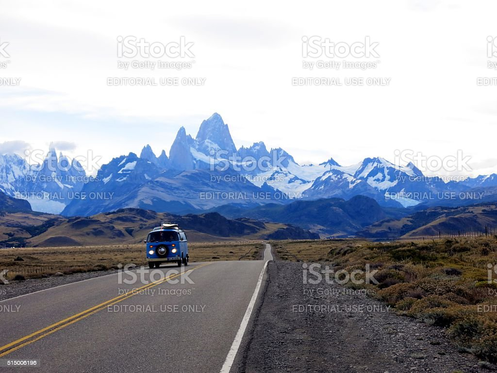 VW bus with Mount Fitz-Roy in Patagonia, Argentina stock photo