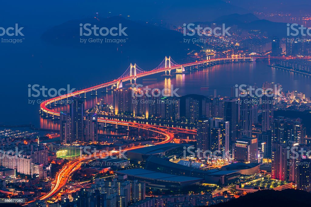 Busan City Skyline, The best view of Busan ,South Korea stock photo