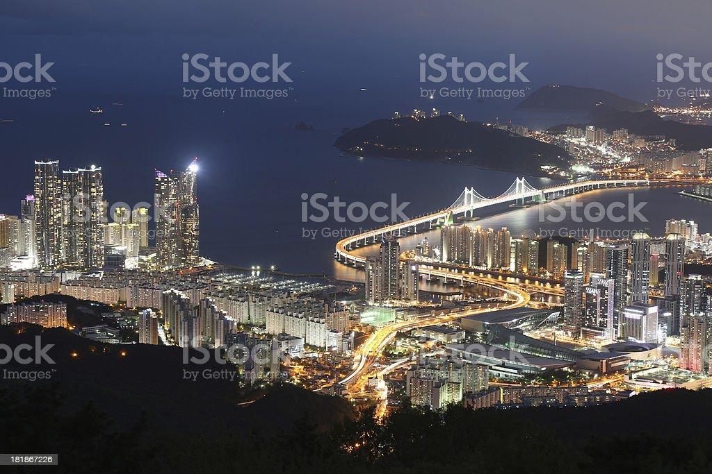 Busan Cityscape and Gwangan Bridge South Korea royalty-free stock photo