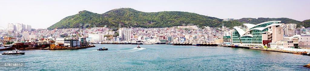 Busan South Korea Seo-Gu panoramic view with bay stock photo