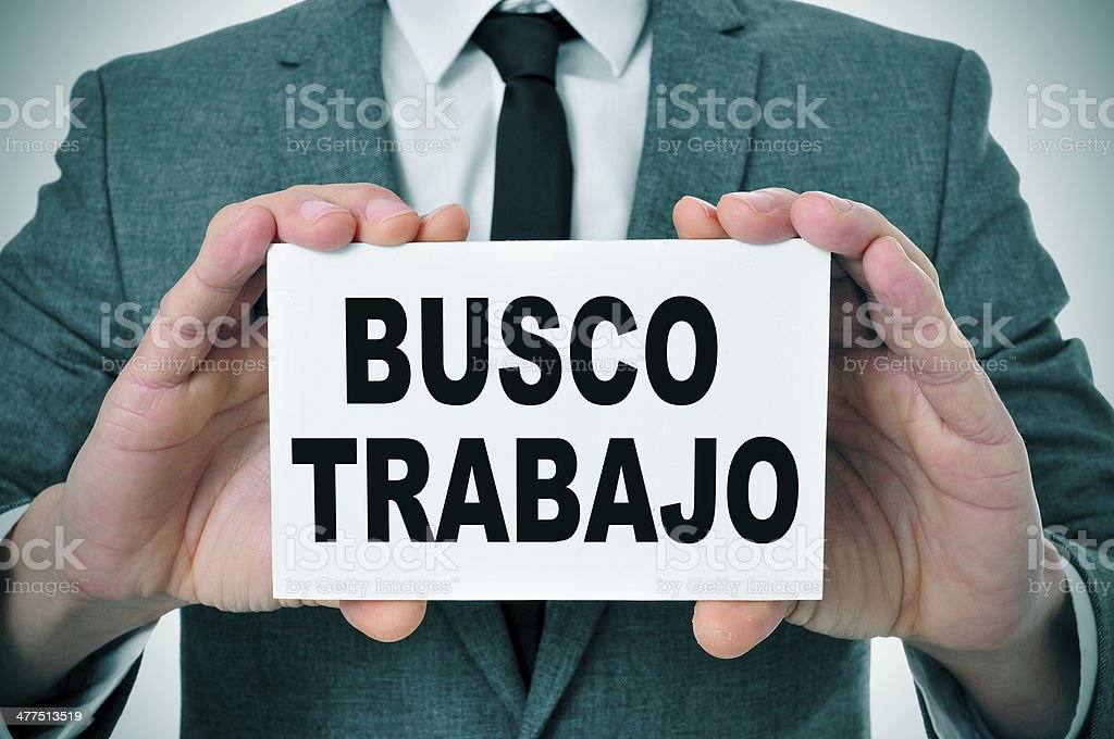 busco trabajo, looking for a job in spanish stock photo