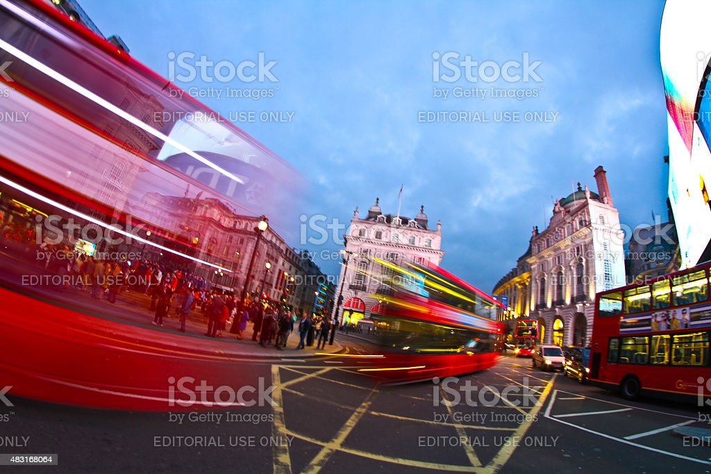 Buses at Piccadilly Circus stock photo