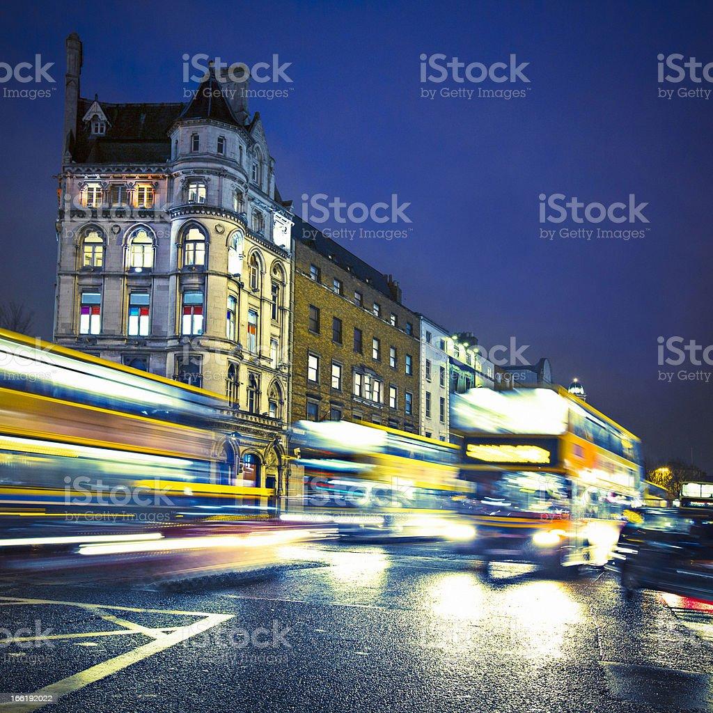 Buses in Dublin stock photo