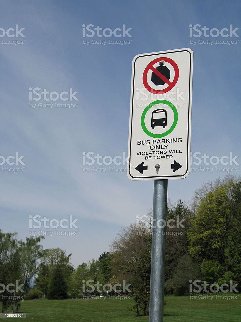 buses parking sign stock photo
