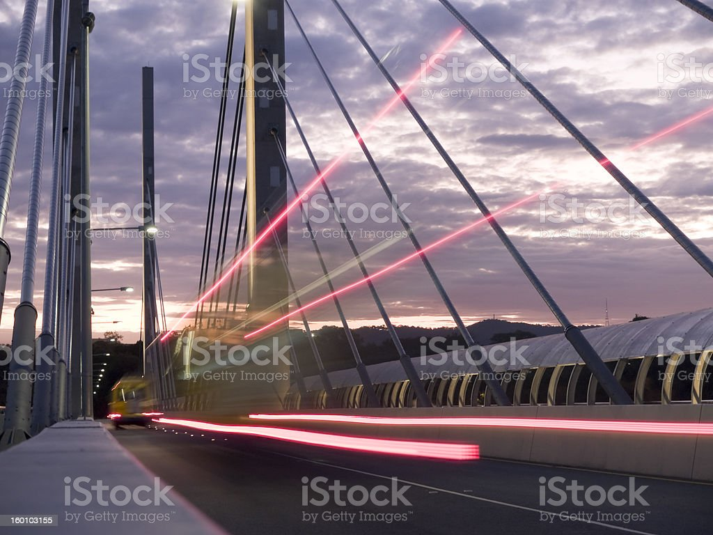 Buses passing on a bridge royalty-free stock photo