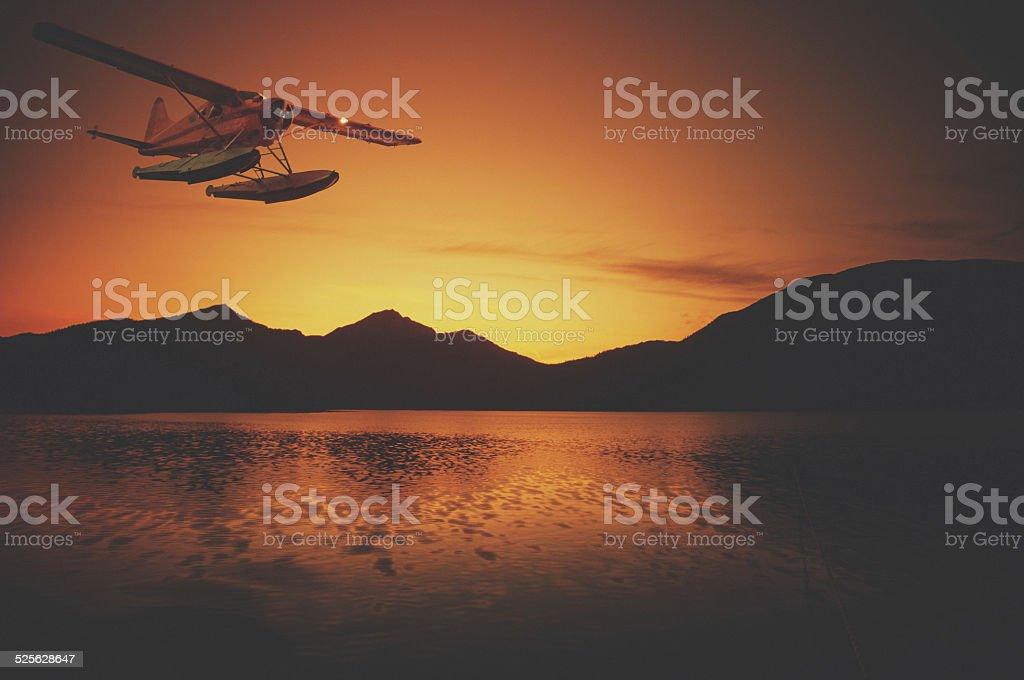 Bush Plane in Sunset stock photo