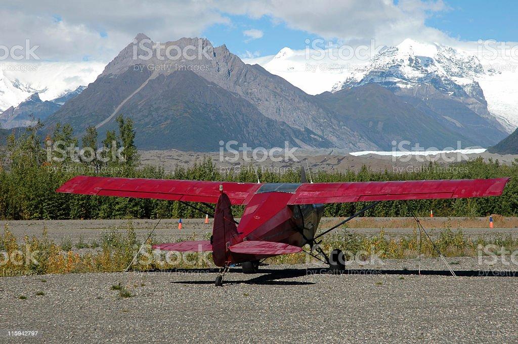 Bush plane in the Wrangell Mountains royalty-free stock photo