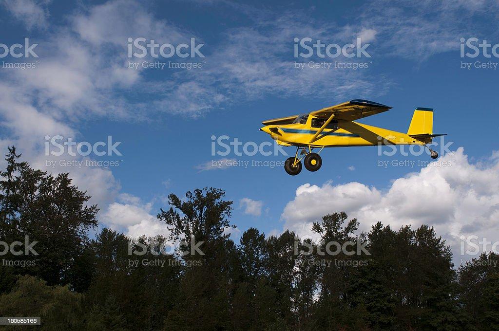 Bush Plane Landing stock photo